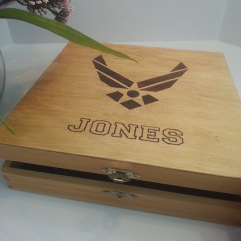 Personalized US Air Force Keepsake Box - Boot Camp Graduation - Deployment Keepsake