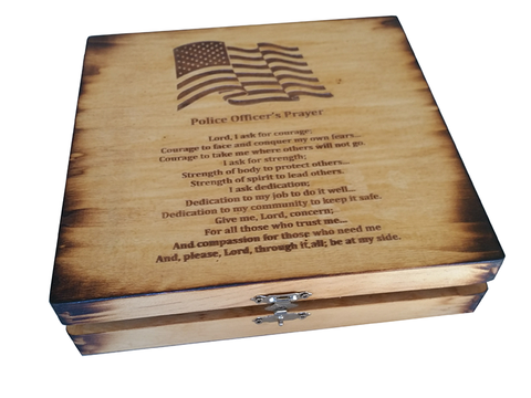 American Flag with Police Officer's Prayer Stained Keepsake Box