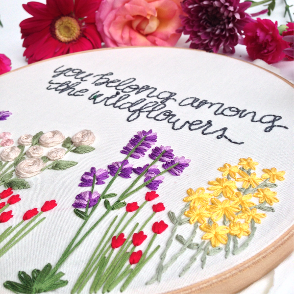 Lavender Embroidery Flower