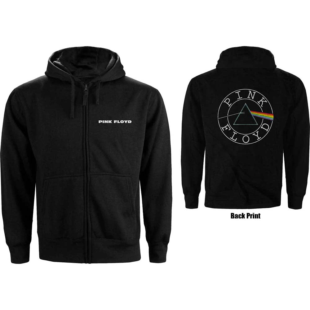 Hoodie - Pink Floyd Circle Logo Zippered Black
