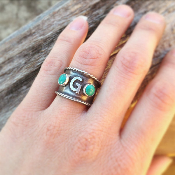 Custom Ring with 2 Turquoise Stones