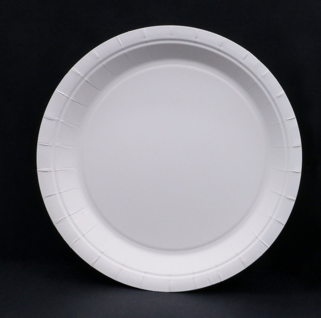 "Heavy Duty 9"" White Coated Paper Plates"