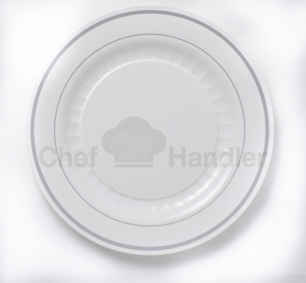 Buy disposable 250 Guest Bundle - Mystique - White / Silver party plates u0026 silverware cutlery  sc 1 st  Chef Handler & Buy Fancy Two Silver Band Decorative Plastic Plates Mystique 250 ...