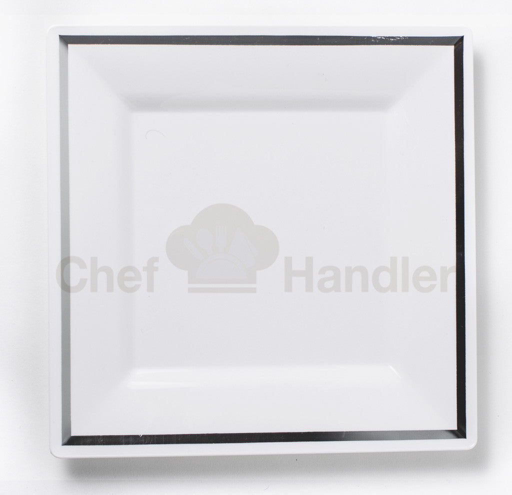 Buy disposable 150 Guest Bundle - Imperial - White / Silver party plates \u0026 silverware cutlery  sc 1 st  Chef Handler & Elegant Square Plastic Party Plates and Cutlery Set in Bulk|Buy 150 ...