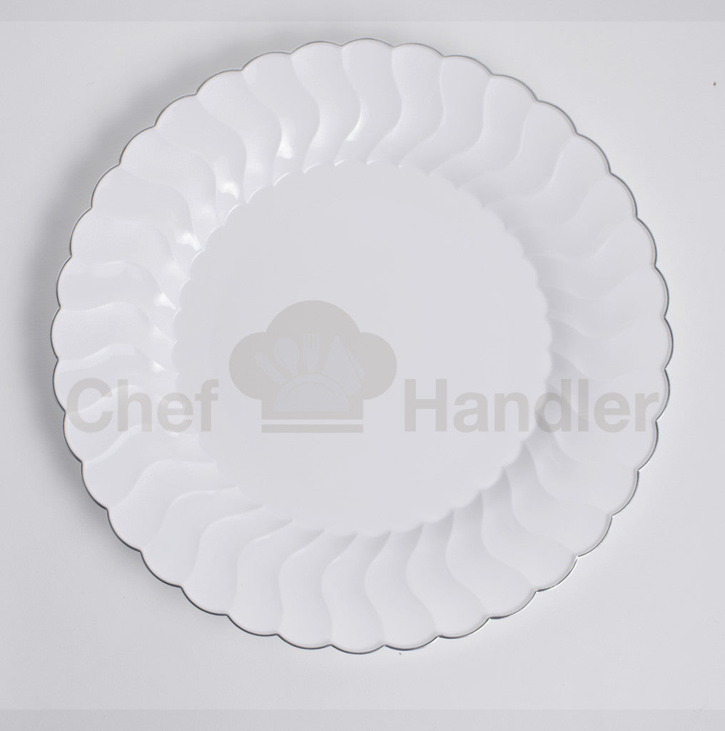 Buy disposable 150 Guest Bundle - Elite - White / Silver party plates u0026 silverware cutlery  sc 1 st  Chef Handler & Beautiful Scalloped Edge Disposable Plates and Silverware Set in ...