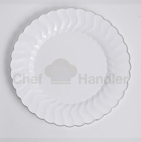 Buy disposable 300 Guest Bundle - Elite - White / Silver party plates & silverware cutlery set