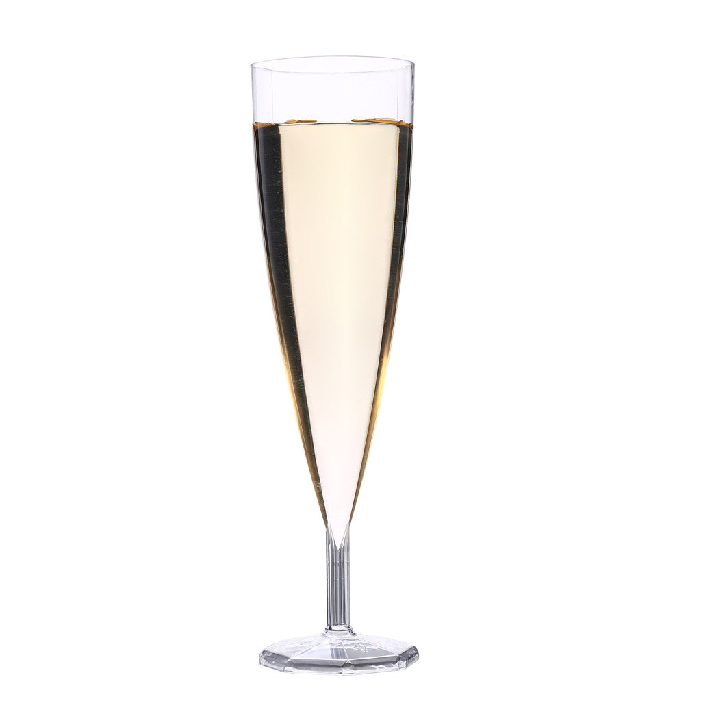 Get 50z fine cut crystal clear plastic champagne glasess for Buy champagne glasses online