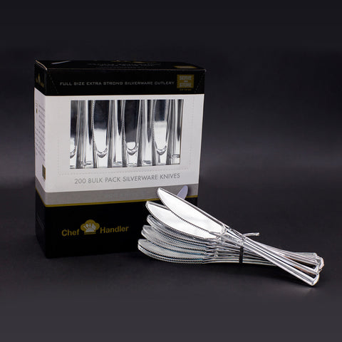 Heavy Duty Plastic Knives Silverware Cutlery - 200ct