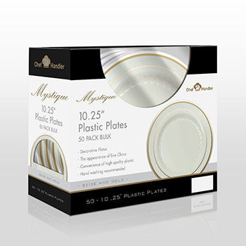 "Buy disposable Mystique 10.25"" Plates Beige/Gold dinner plates online"