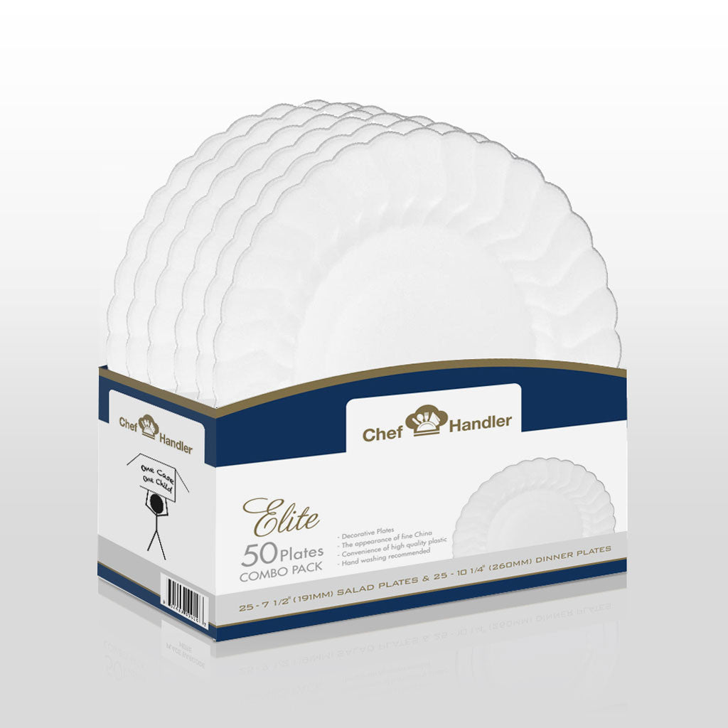 Buy disposable Elite Combo Basket Pack plastic salad u0026 dinner plates online  sc 1 st  Chef Handler & Buy Heavy Duty White Scalloped Edge Plastic Plates Online|Elite ...