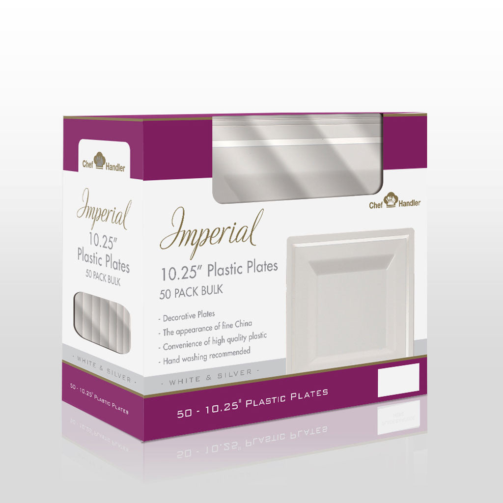 Buy disposable Imperial 10.25\u201d Plastic White dinner plates online  sc 1 st  Chef Handler & White and Clear Premium Plastic Square Dining Plates|Buy Imperial ...