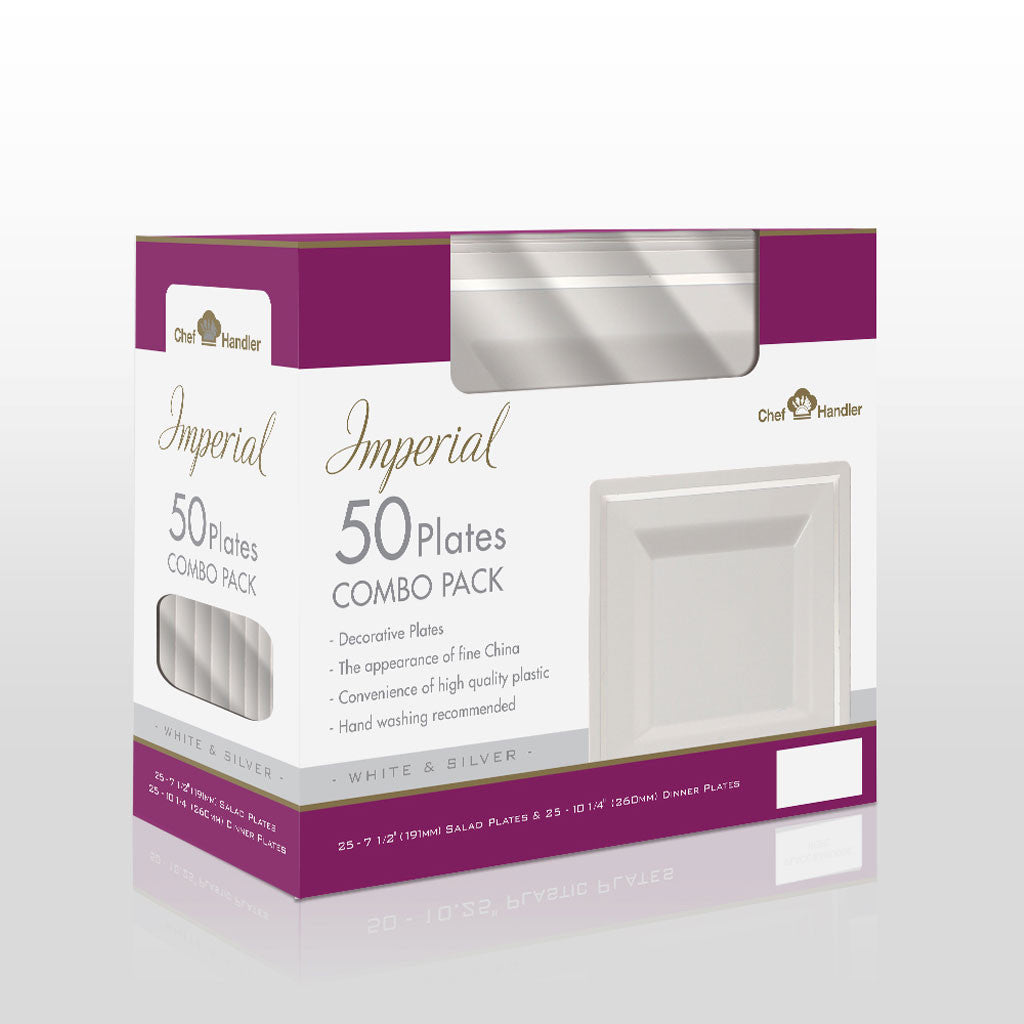 Buy disposable Imperial White  Combo Box Pack plastic salad & dinner plates online