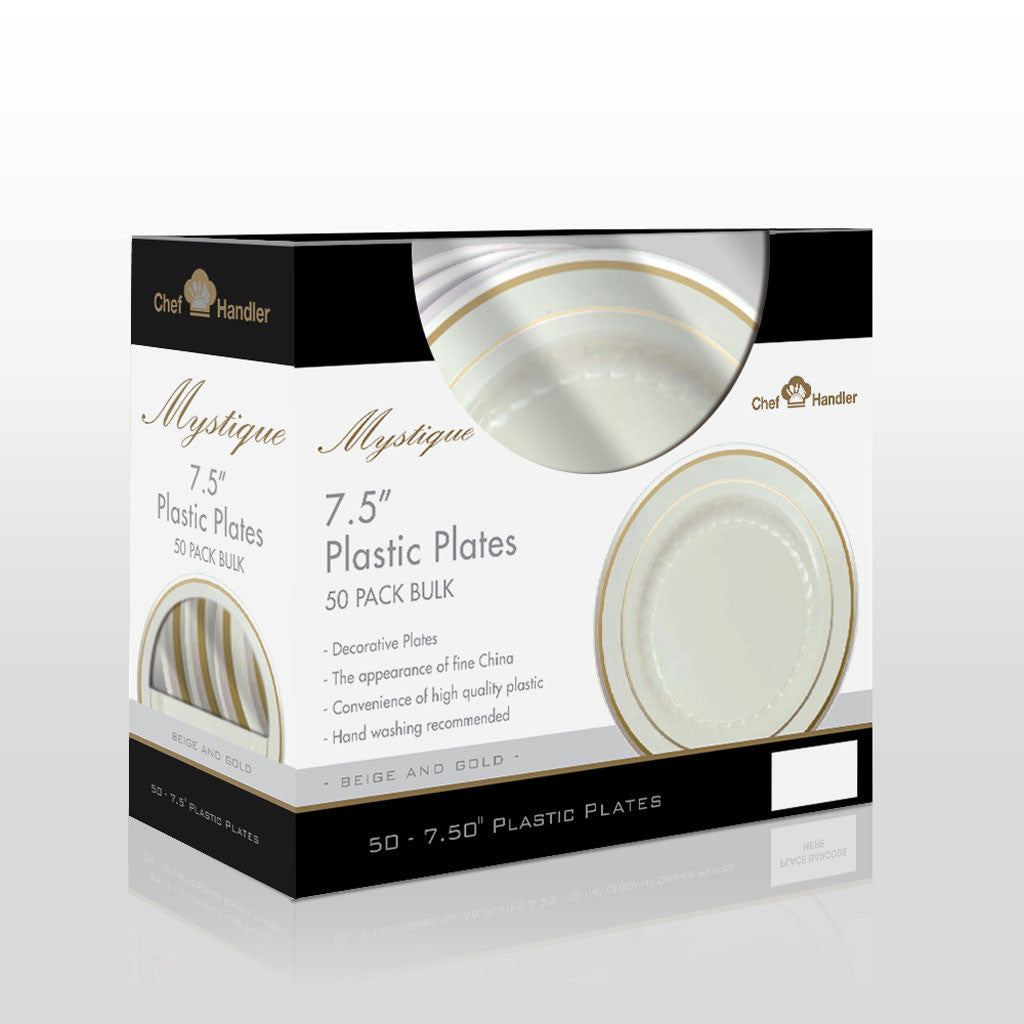 Buy disposable Mystique 7.5″ Plates Beige/Gold dinner plates online