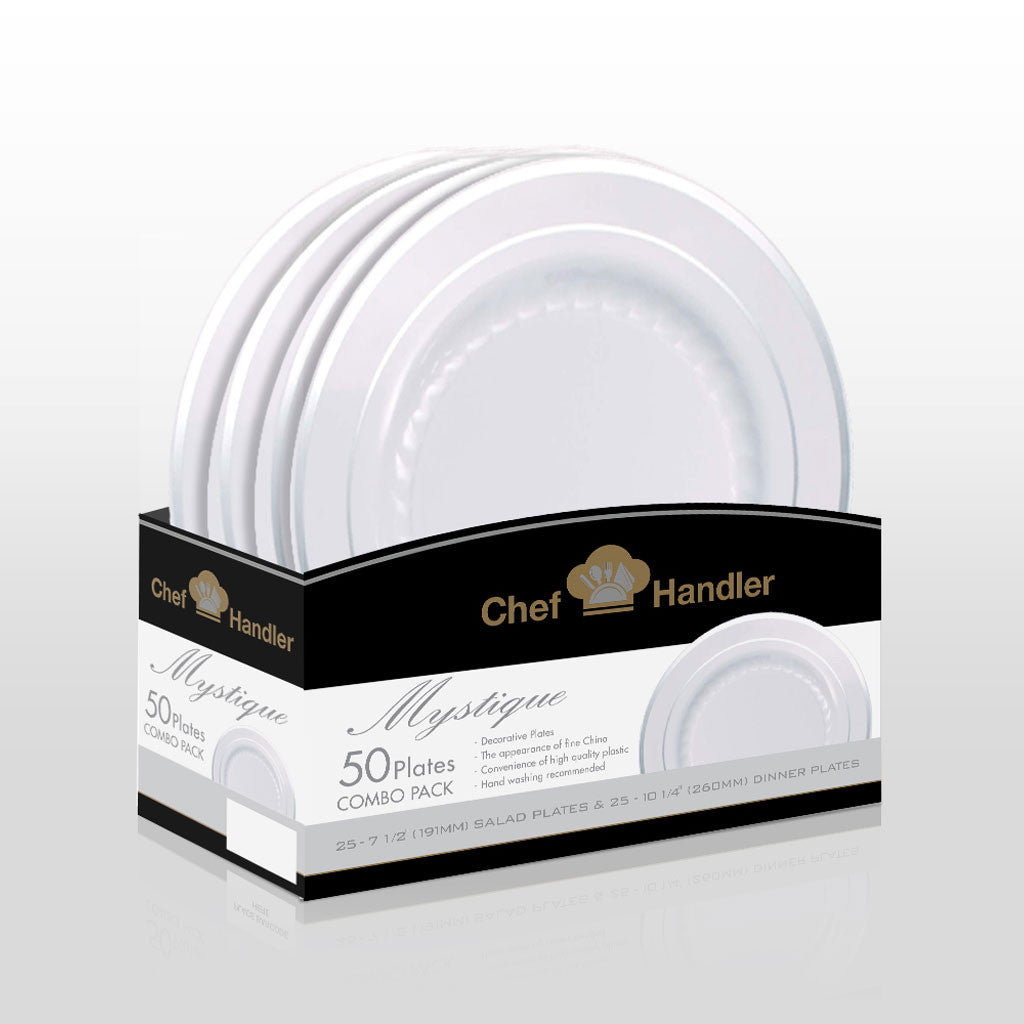 Buy disposable Mystique Combo Basket Pack White/Silver plastic salad \u0026 dinner plates online  sc 1 st  Chef Handler & Buy Mystique like Masterpiece White Combo 50 pack Plastic Plate ...