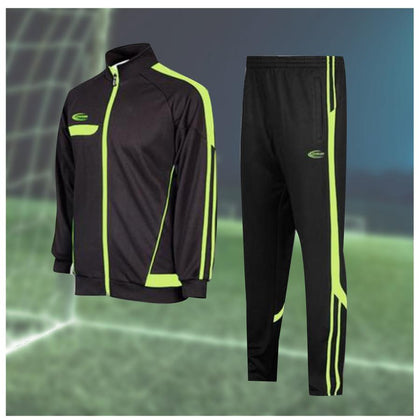 Desto Warmup set. A black jacket with neon green lining on the left. A black pant with neon green lining on the right. All above a soccer field background.