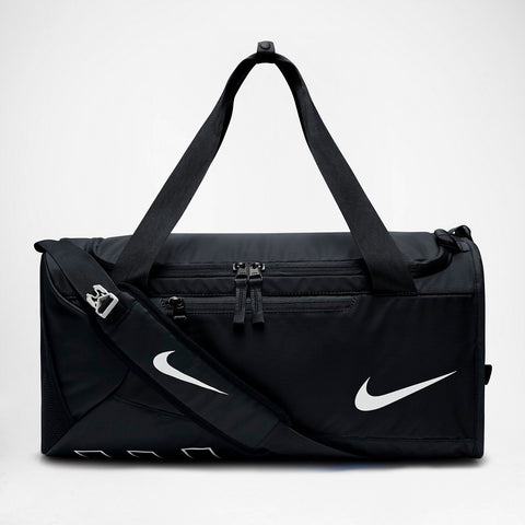 A Black Duffel Bag with the nike swoosh logo on the side and Nike name on the bottom