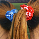 Century Soccer Scrunchies in Red, white and royal blue