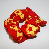 Century soccer red and yellow hair scrunchie