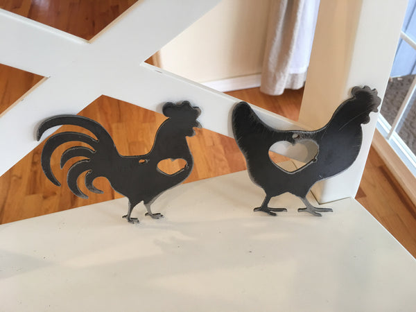 Steel Hen and rooster ornament set