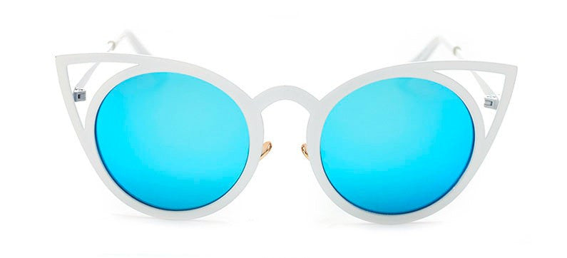 White and Blue Cat Eye Sunglasses