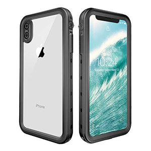 Wildtek DOTPlus Series iPhone Xs MAX Waterproof Case | Underwater Snowproof Dirtproof Shockproof with Touch ID | Fully Sealed Cover Waterproof Phone Case | 4.7 Inch Black