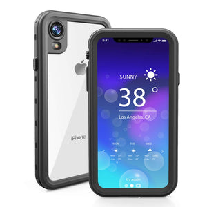 Wildtek DOTPlus Series iPhone XR Waterproof Case | Underwater Snowproof Dirtproof Shockproof with Touch ID | Fully Sealed Cover Waterproof Phone Case | 4.7 Inch Black