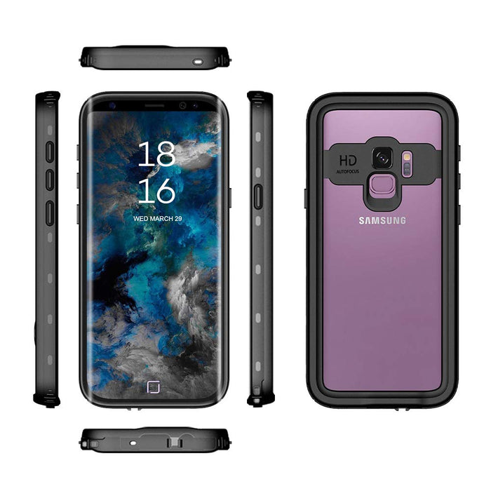Wildtek DOTPlus Series Samsung S9 Plus Waterproof Case | Underwater Snowproof Dirtproof Shockproof with Touch ID | Fully Sealed Cover Waterproof Phone Case | 4.7 Inch Black