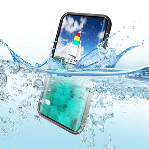 Wildtek DOTPlus Series Samsung S10 Waterproof Case | Underwater Snowproof Dirtproof Shockproof with Touch ID | Fully Sealed Cover Waterproof Phone Case | 4.7 Inch Black