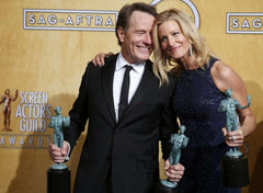 A shot with her TV Husband, Walt, played by Brian  Cranston