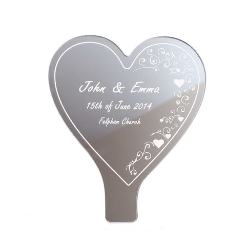 Personalised Heart Swirl Mirror Cake Topper