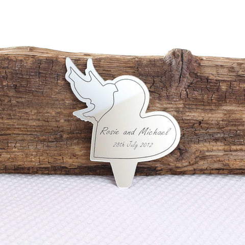 Personalised Dove Heart Mirror Cake Topper