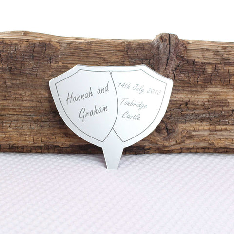 Personalised Shield Engraved Mirror Cake Topper