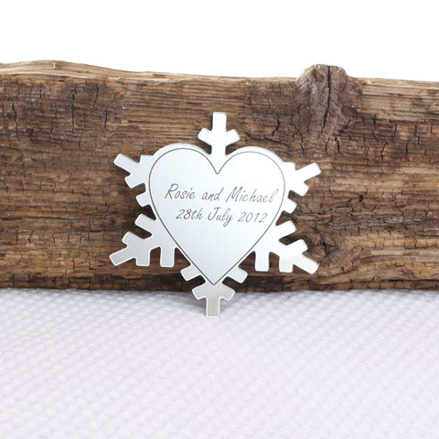 Personalised Heart Snowflake Mirror Cake Topper
