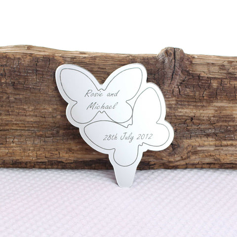 Personalised Double Butterfly Mirror Cake Topper