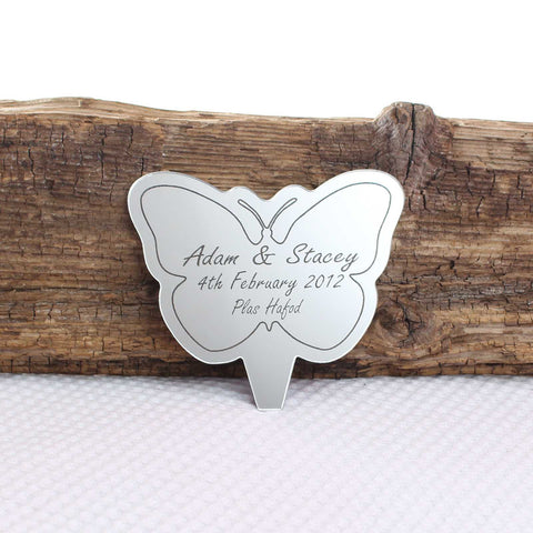 Personalised Butterfly Mirror Cake Topper