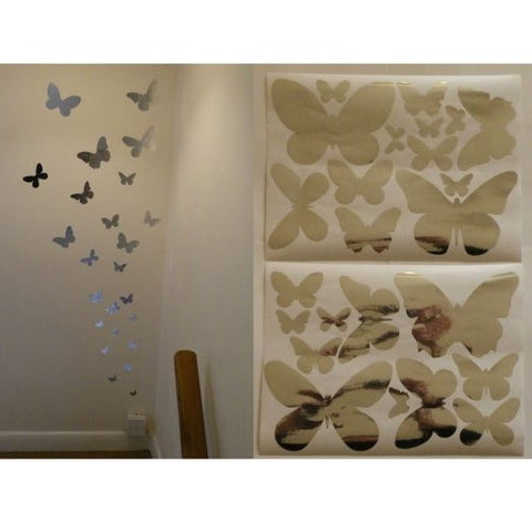 Chrome Mirror Reflective or Frosted Butterfly Wall Vinyl Stickers