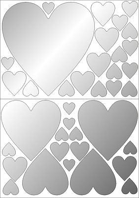 Mirror Hearts Wall Stickers