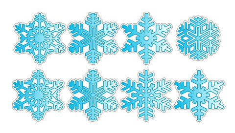 8 Blue Christmas Snowflakes