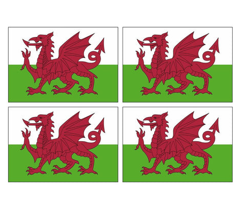 4 Welsh Wales Flags