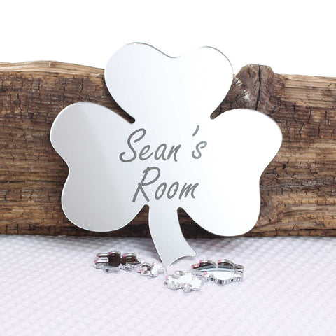 Shamrock Clover Mirror Set Personalised Plaque