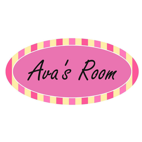 Personalised Pink Candy Striped Oval Plaque