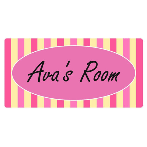Personalised Pink Candy Stripe Rectangle Plaque