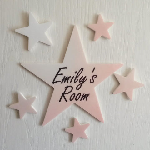 Personalised Pink Colour Star Plaque