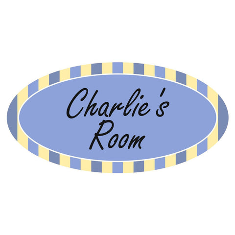 Personalised Blue Candy Striped Oval Plaque