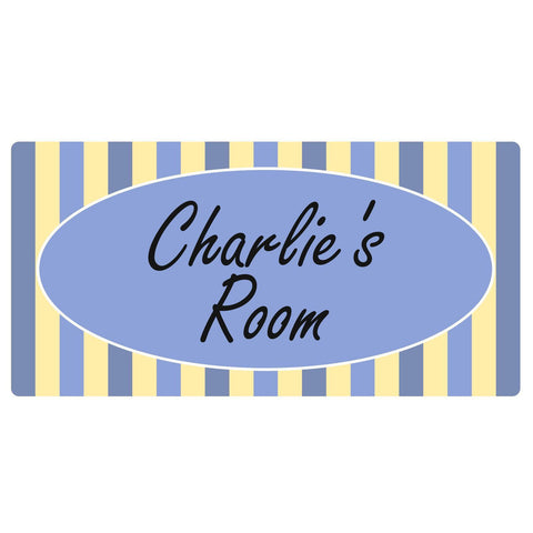 Personalised Blue Candy Stripe Rectangle Plaque