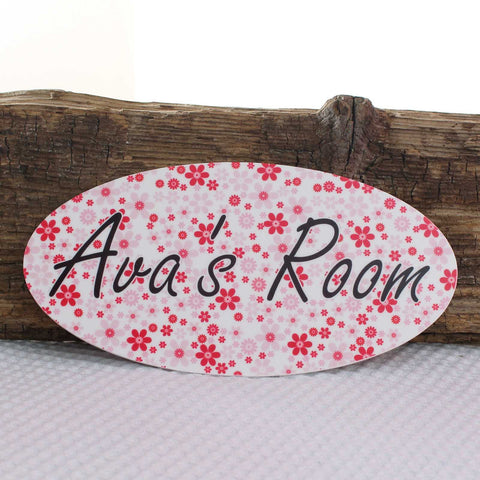 Personalised Pink Flower Print Plaque