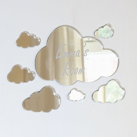 Personalised Clouds Mirror Set