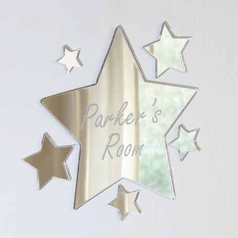 Slanted Star Mirror Set Personalised Plaque