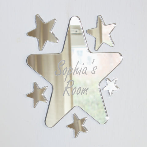 Rounded Star Mirror Set Personalised Plaque
