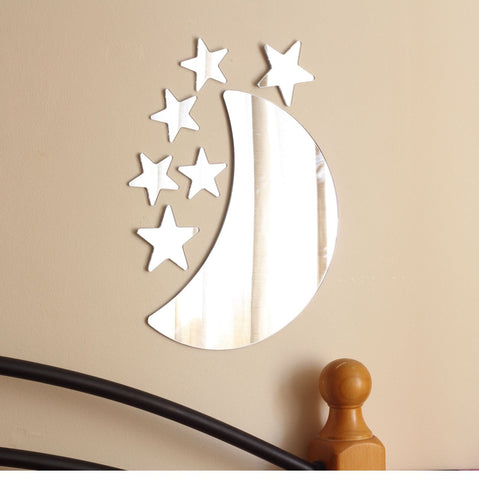 Mirror Acrylic Moon and Stars Wall Art Set